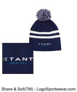 Striped Beanie with Pom Pom Design Zoom